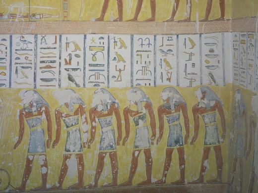 Egypt, Thebes, Luxor, Valley of the Kings, Mural painting in tomb of Ramses IV : Stock Photo