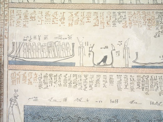 """Stock Photo: 1788-11076 Egypt, Thebes, Luxor, Valley of the Kings, Tomb of Amenhotep II (KV 35), Funerary room, fresco detail representing """"""""The Egyptian Amduat: The Book of the Hidden Chamber: the ninth hour"""""""""""