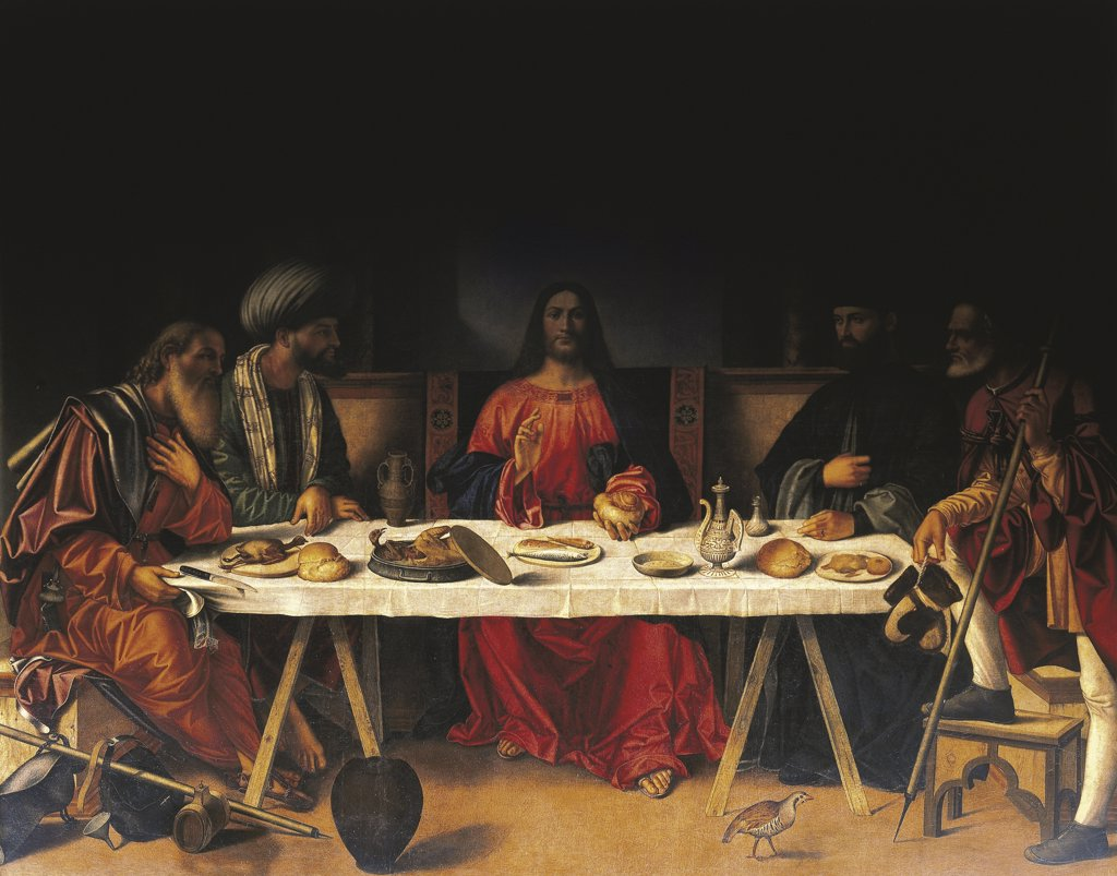 Stock Photo: 1788-1109 Italy - Veneto Region - Venice - Church of St. Salvador - Dinner in Emmaus by Giovanni Bellini