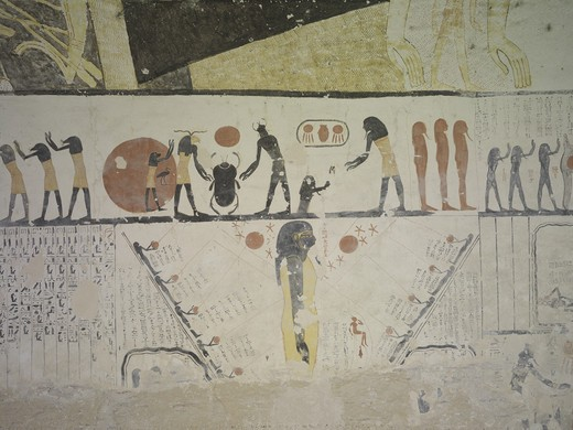 Egypt, Thebes, Luxor, Valley of the Kings, Tomb of Ramses IX, mural paintings representing Book of Caverns in funerary room : Stock Photo