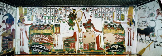 Stock Photo: 1788-11123 Egypt, Thebes, Luxor, Valley of the Kings, Second room, Tomb of Queen Nefertari, Fresco representing Queen holding sekhem sceptre and God Osiris on left and Atum on right