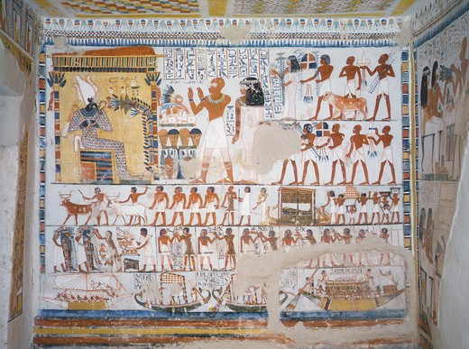 Egypt, Thebes, Luxor, Sheikh 'Abd El-Qurna, Tomb of Pere, fresco representing deceased with his wife invoking God Osiris : Stock Photo