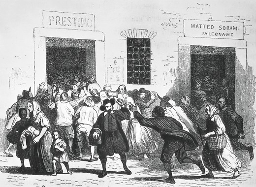 Stock Photo: 1788-11172 Sacking of bakery, episode of the bread riots in Milan, by Alessandro Manzoni, engraving