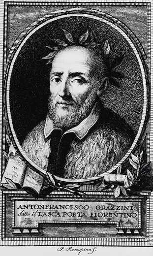 "Portrait of Anton Francesco Grazzini, called """"Il Lasca"""" (1503-1584). Italian poet, writer and playwright, among the founders of the Accademia degli Umidi, engraving : Stock Photo"