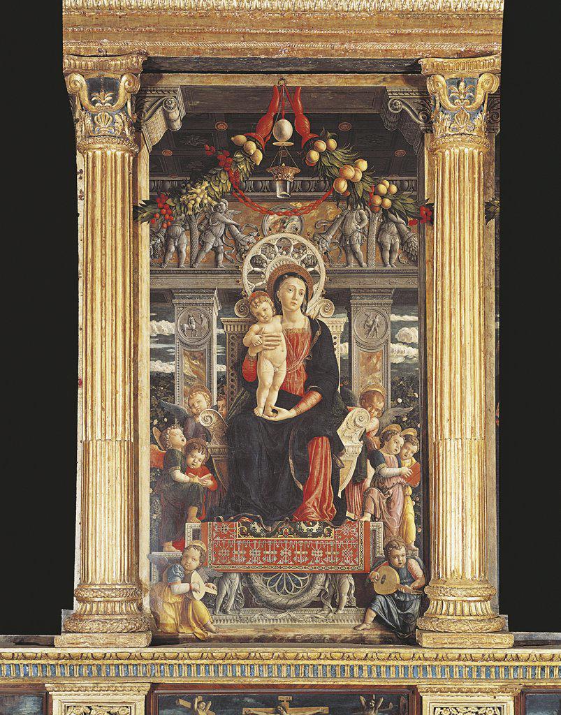 Stock Photo: 1788-1131 Italy - Veneto Region - Verona - Basilica of St. Zeno - Altar-piece of St. Zeno by Andrea Mantegna - Detail of the Virgin on Throne