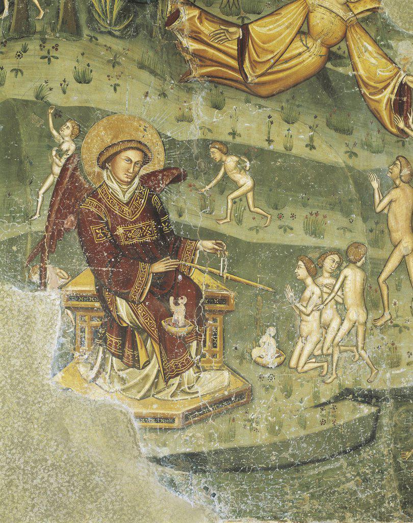Stock Photo: 1788-1132 Italy - Abruzzo Region - Loreto Aprutino - Church of Saint Maria in Piano - Fresco - Universal judgement