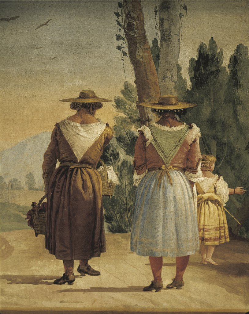 Stock Photo: 1788-1134 Italy - Veneto Region - Vicenza -  Valmarana Villa - Landscape with two country women by Giandomenico Tiepolo - Fresco