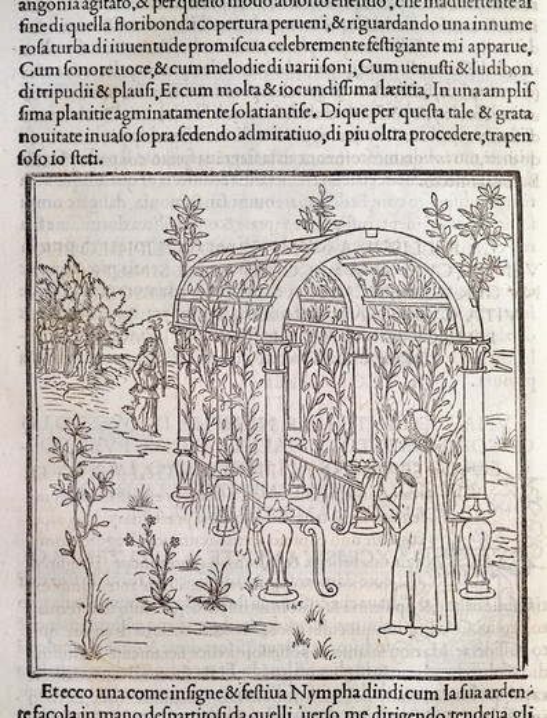 Hypnerotomachia Poliphili, Study for Garden by Francesco Colonna, 1499, engraving : Stock Photo