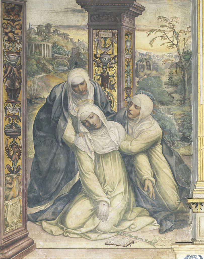Italy - Tuscany Region - Siena - Church of St. Dominic - St. Catherine receiving the Stigmata by G.Sodoma (1477-1549) : Stock Photo