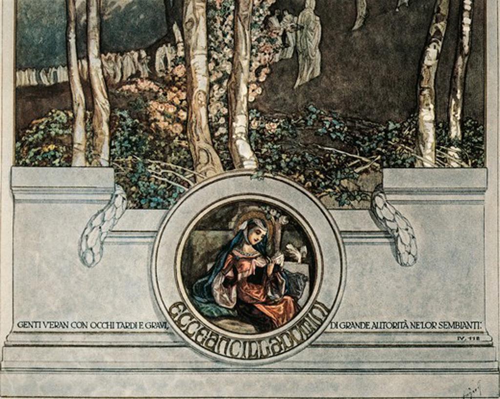 Dante Alighieri (1265-1321), Divina Commedia (Divine Comedy), Illustration by Franz Von Bayros, Inferno (Hell), Canto III, detail : Stock Photo