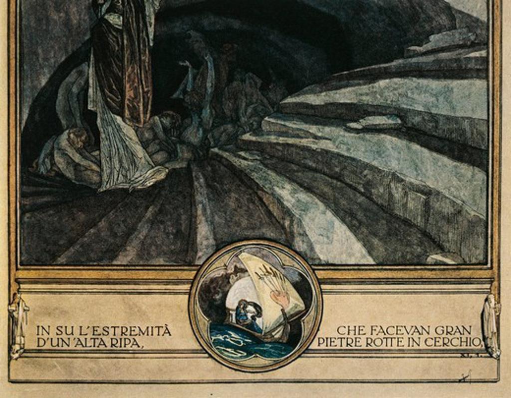 Austria, Vienna, Illustration of Dante Alighieri's Divine Comedy (Hell, Song XI) by Franz von Bayros, detail : Stock Photo