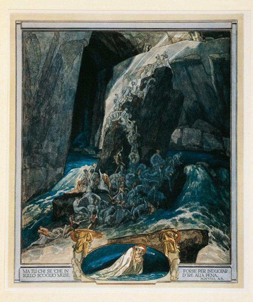 Austria, Vienna, Illustration of Dante Alighieri's Divine Comedy (Hell, Song XXVIII) by Franz von Bayros : Stock Photo