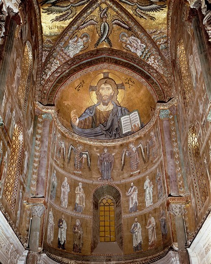 Stock Photo: 1788-11709 Italy, Sicily, Palermo Province, Cefalu Cathedral, Abse, Christ Pantocrator, Orant Virgin, Archangels and Apostles, freesco