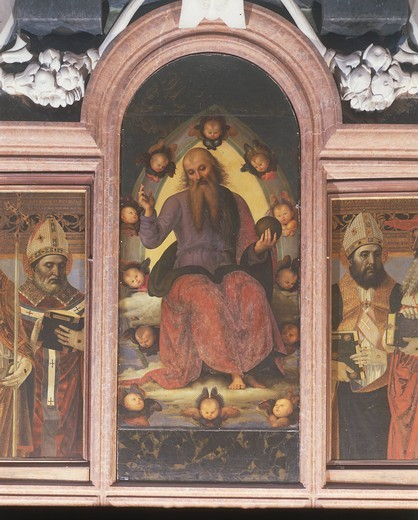 Stock Photo: 1788-11728 Italy, Lombardy, Pavia Charterhouse (Certosa), second chapel on the left, polyptych with Benedictory Eternal Father by Pietro Vannucci or Perugino, 1499