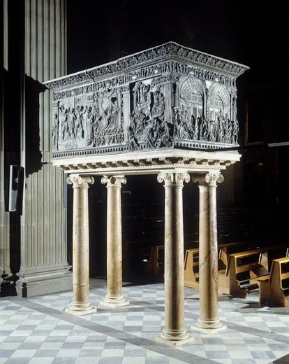 Italy, Tuscany, Florence,,Basilica of St Lawrence, bronze pulpit decorated with representations of Christ's Passion : Stock Photo