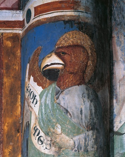 Italy, Lombardy, Como, Church of Sant'Abbondio, apse, allegorical portrait with Saint John as eagle, fresco : Stock Photo