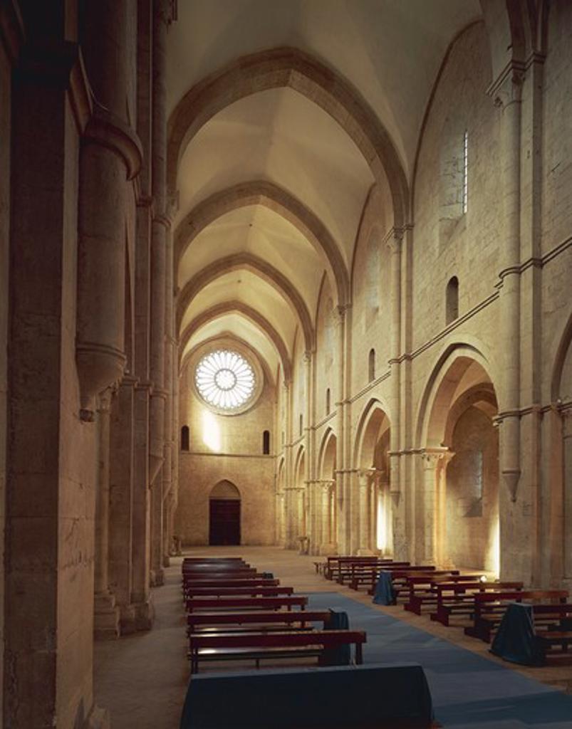 Italy, Lazio, Latina province, Priverno, Cistercian Abbey of Fossanova, church dedicated to Saint Mary and Saint Stephen, view of nave : Stock Photo