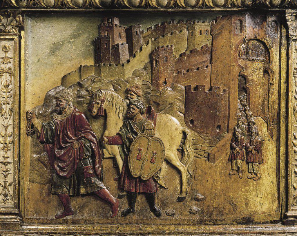 Stock Photo: 1788-1180 Spain - Granada - Cathedral - Royal chapel - Philip of Burgundy - Altar-piece decorated with sculptures - Boadbil, the last Muslim Emperor, leaves Granada (1492)