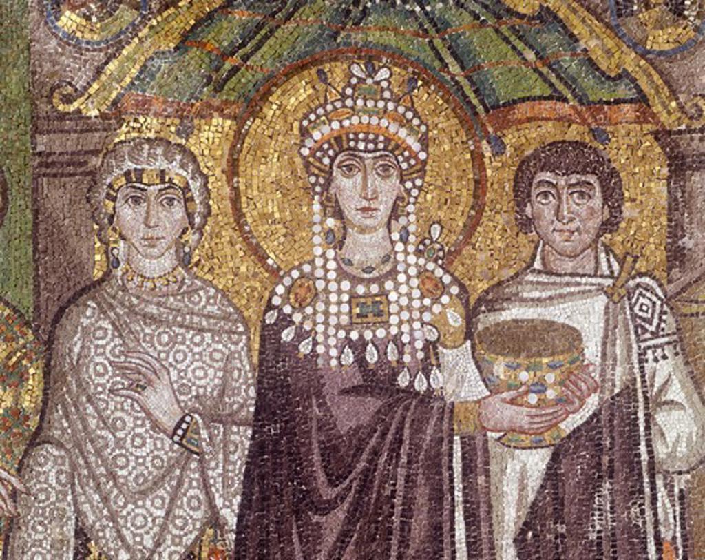 Italy, Emilia Romagna region, Ravenna, Basilica of San Vitale, Apse, mosaic, detail with Empress Theodora, 538-545 : Stock Photo