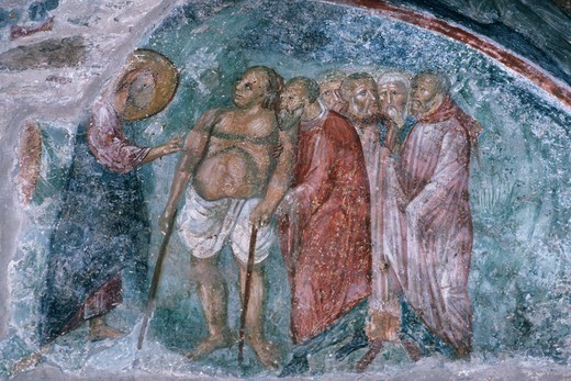 Stock Photo: 1788-11859 Greece, Peloponnese, Mystras, fresco representing a miracle of Jesus