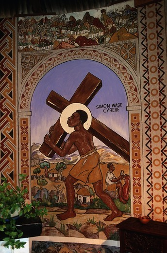 Zimbabwe, Matabeleland North Province, Bulawayo, Bulawayo Mission, African style religious murals representing biblical subjects : Stock Photo