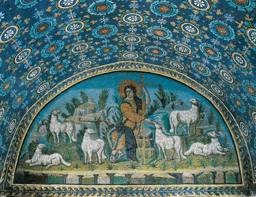 Italy, Emilia Romagna, Ravenna, mausoleum of Galla Placidia, lunette mosaic portraying the Good Shepherd : Stock Photo
