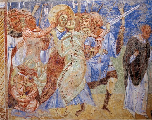 Italy, Campania, Caserta province, Sant'Angelo in Formis, basilica of San Michele (Saint Michael), Stories of the New Testament with Kiss of Judas, fresco, 1072-1078, detail : Stock Photo