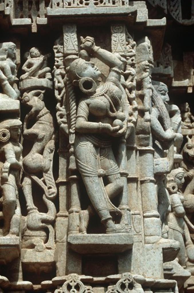 India, Rajasthan, Ranakpur, Chaumukha Temple, relief detail : Stock Photo