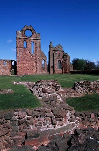 UK, Scotland, Angus Area, Arbroath, ruins of Arbroath Abbey : Stock Photo