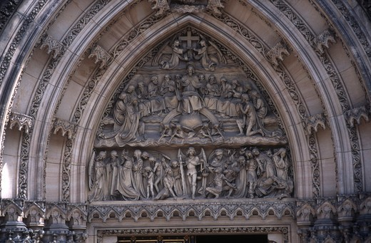 Stock Photo: 1788-11990 Czech Republic, Prague, Vysehrad, detail on lunette of Church of Sts. Peter and Paul