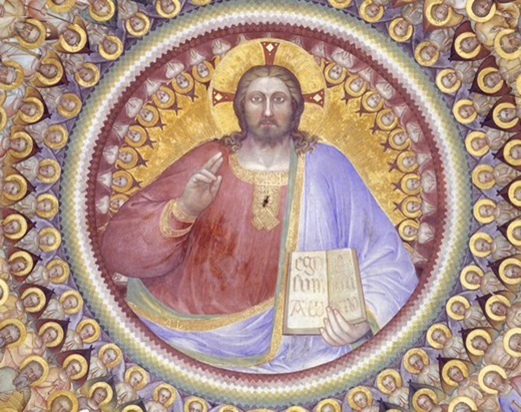 Italy, Veneto Region, Padua, baptistry of cathedral, Heaven by Giusto de Menabuoi, fresco, detail with Christ Pantocrator : Stock Photo
