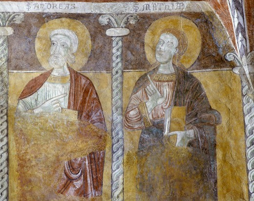 Italy, Trentino-Alto Adige region, San Zeno di Trento, Basilica of the Saints Martyrs Sisinio, Martirio and Alessandro, close up  of fresco with Saint Andrew and Matthew : Stock Photo