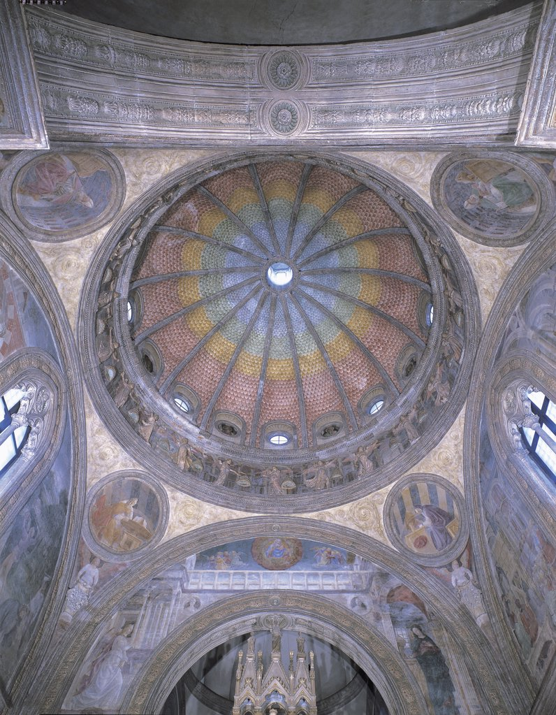 Low angle view of the ceiling of a chapel, Portinari Chapel painted by Vincenzo Foppa, Milan, Lombardy Region, Italy : Stock Photo