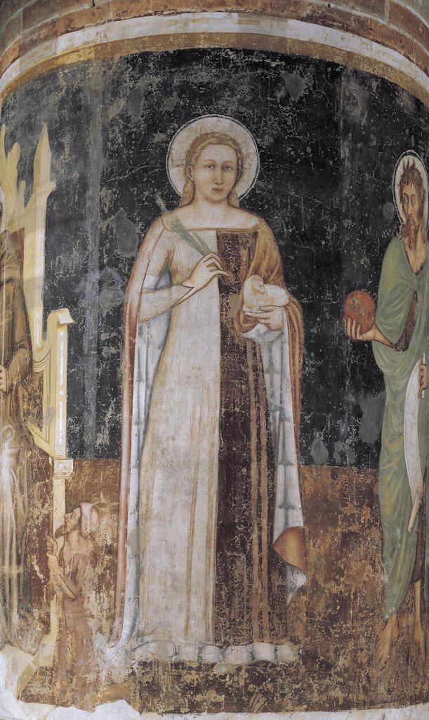 Stock Photo: 1788-1230 Close-up of a fresco in a church, St. Agnes by Tommaso da Modena, Church Of San Nicolò, Treviso, Veneto Region, Italy