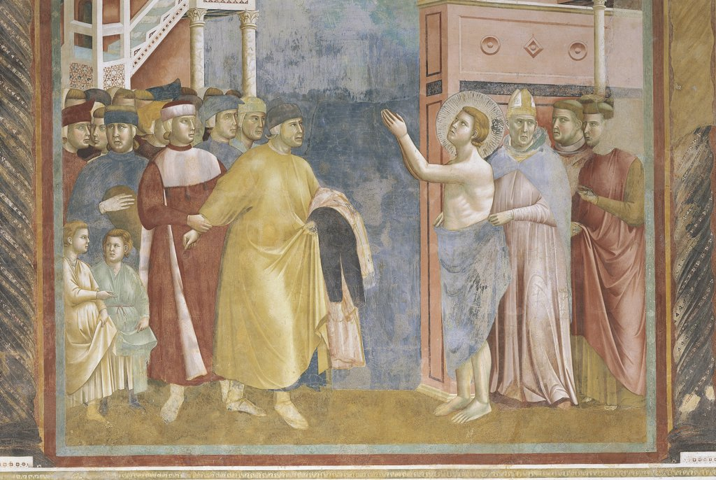 Stock Photo: 1788-1271 Italy - Umbria Region - Perugia. Assisi in the province of Perugia (PG), Basilica of San Francesco d'Assisi (St. Francis), upper church. Giotto, St. Francis is giving his clothes back to his father. Fresco