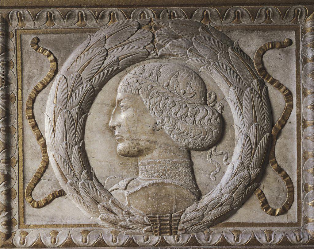 Stock Photo: 1788-1277 Italy - Emilia Romagna Region - Rimini - Malatesta Templum - Chapel of Forefathers - Agostino di Duccio - Sigismondo Malatesta