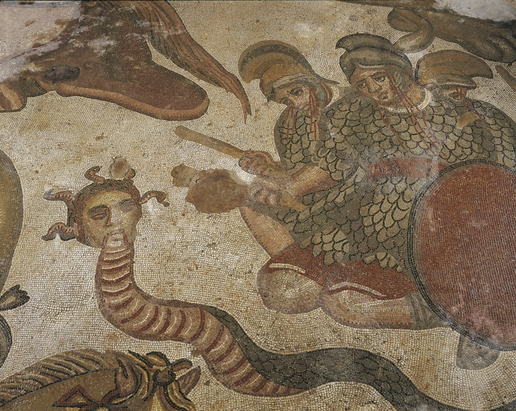 Stock Photo: 1788-1301 Italy - Sicily Region - Piazza Armerina - Roman Villa of Casale (4th century) - Mosaic with the labours of Hercules - Detail