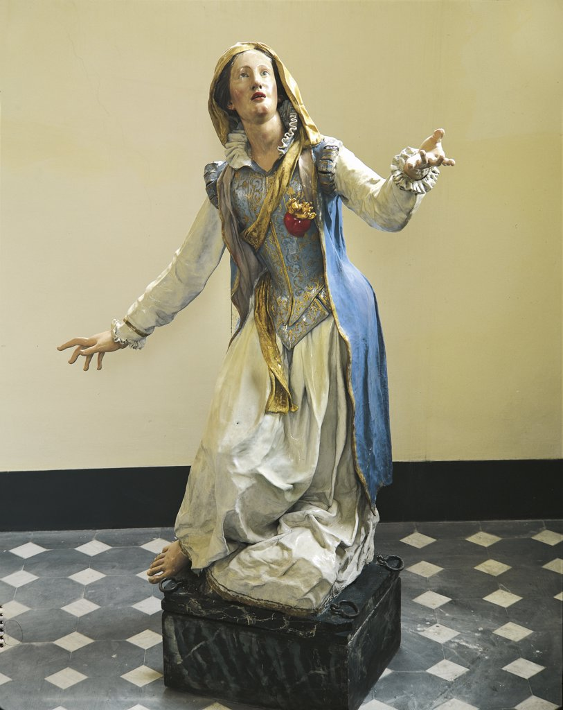 Stock Photo: 1788-1309 Italy - Liguria Region - Genoa - Ccurch of St. Catherine - Wooden Statue of the Saint painted in the 13th Century
