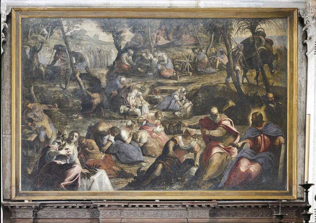 Italy - Veneto Region - Venice - Church of St. Giorgio Maggiore - Manna Harvest by Tintoretto : Stock Photo