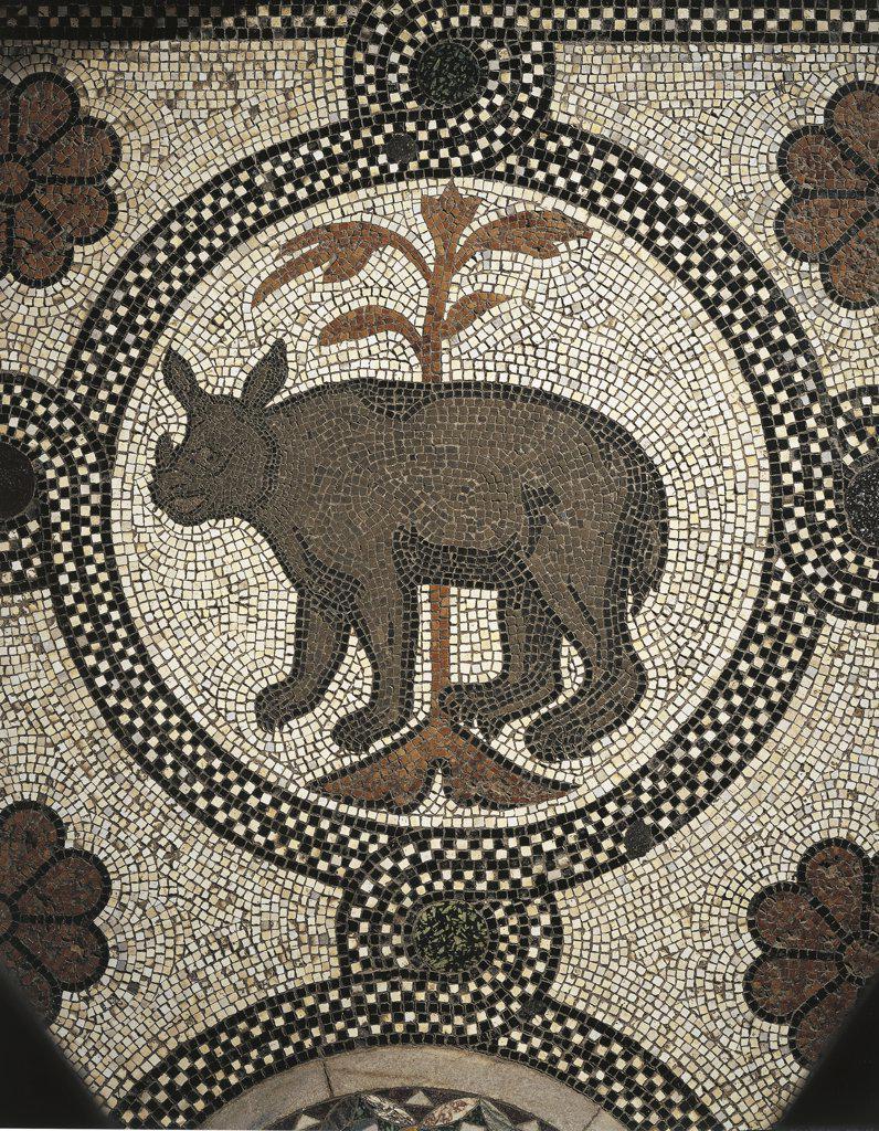 Italy - Veneto Region - Venice - St. Mark's Basilica - Rhinoceros - Mosaic flooring (12th century) : Stock Photo
