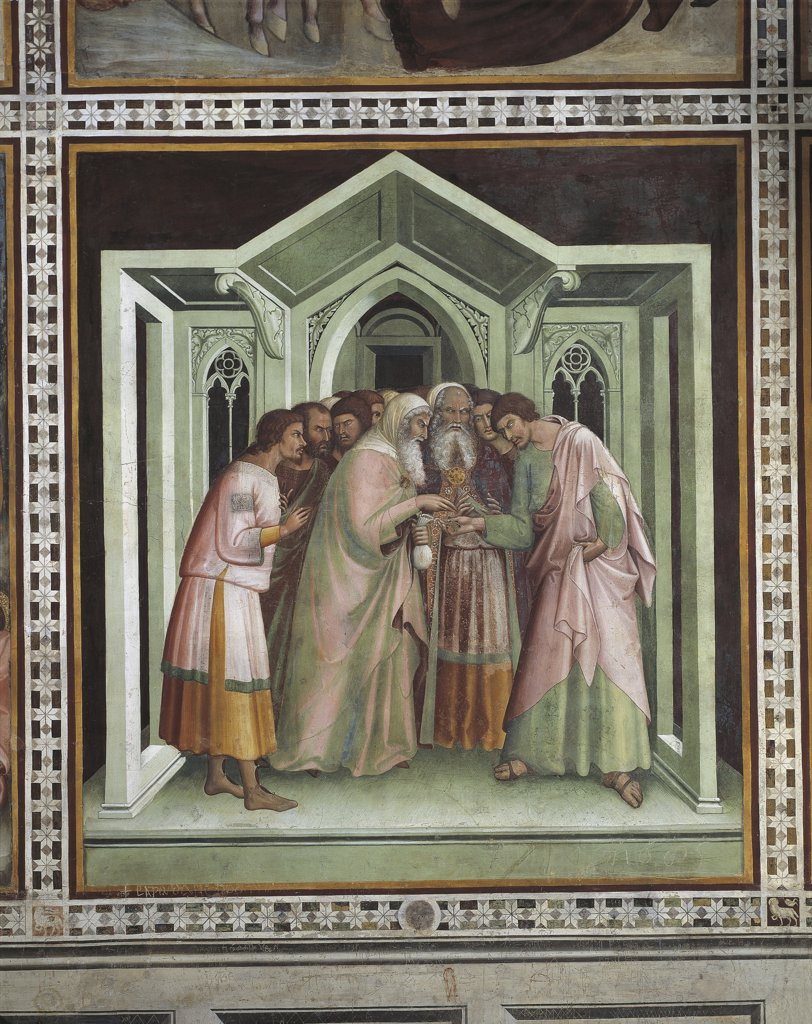Italy - Tuscany Region - San Gimignano - Collegiate Church - Judas and the Thirty Pieces (fresco) by B. da Siena and Giovanni d'Asciano, right side (14th century) : Stock Photo