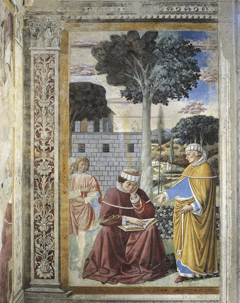 Italy - Tuscany Region - San Gimignano - Church of St. Agostino - Stories of St. Agostino by Benozzo Gozzoli - The Saint reads St. Paul's epistles (1465) - Fresco : Stock Photo