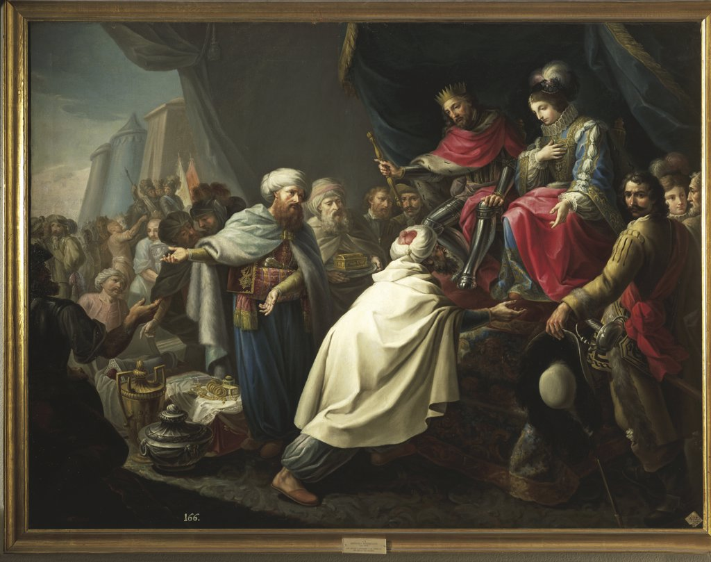 Stock Photo: 1788-1343 Rodriguez - Arab Kings pay tribute to Catholic Kings (18th century)
