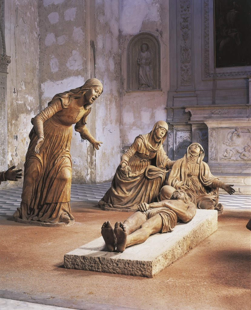 Stock Photo: 1788-1377 Italy - Campania Region - Naples - Church of St. Anne of Lombards - Mourning of Dead Christ