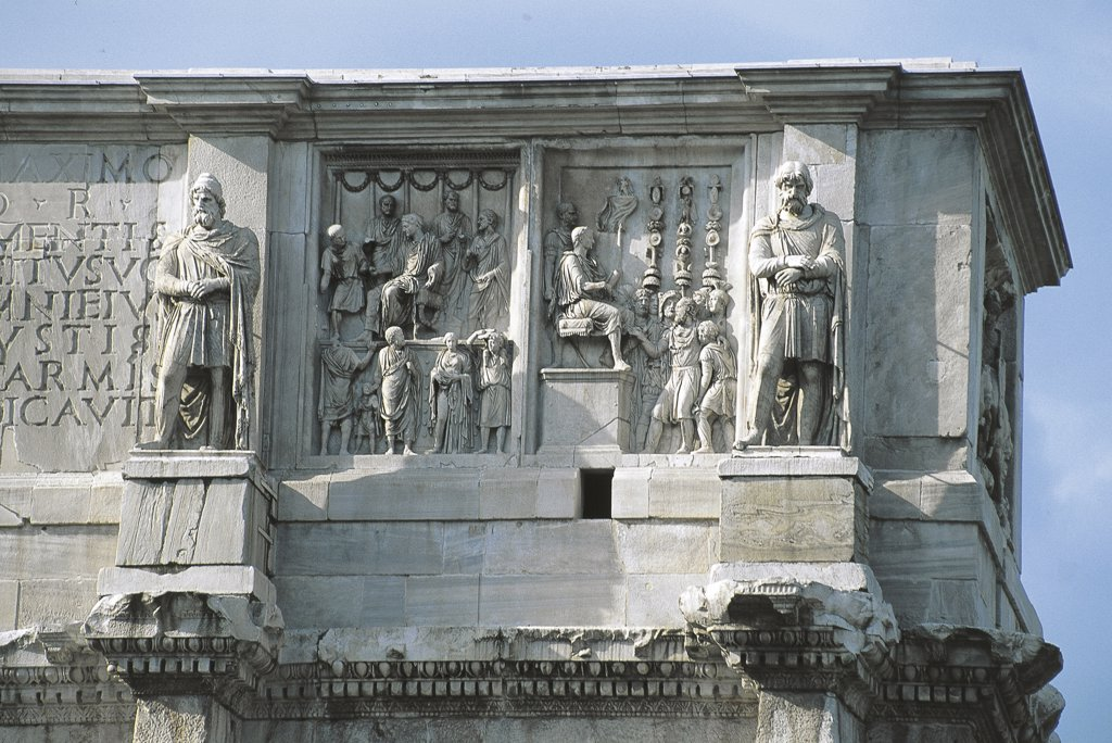 Italy - Lazio Region - Rome - Arch of Constantin - Friezes - Detail : Stock Photo