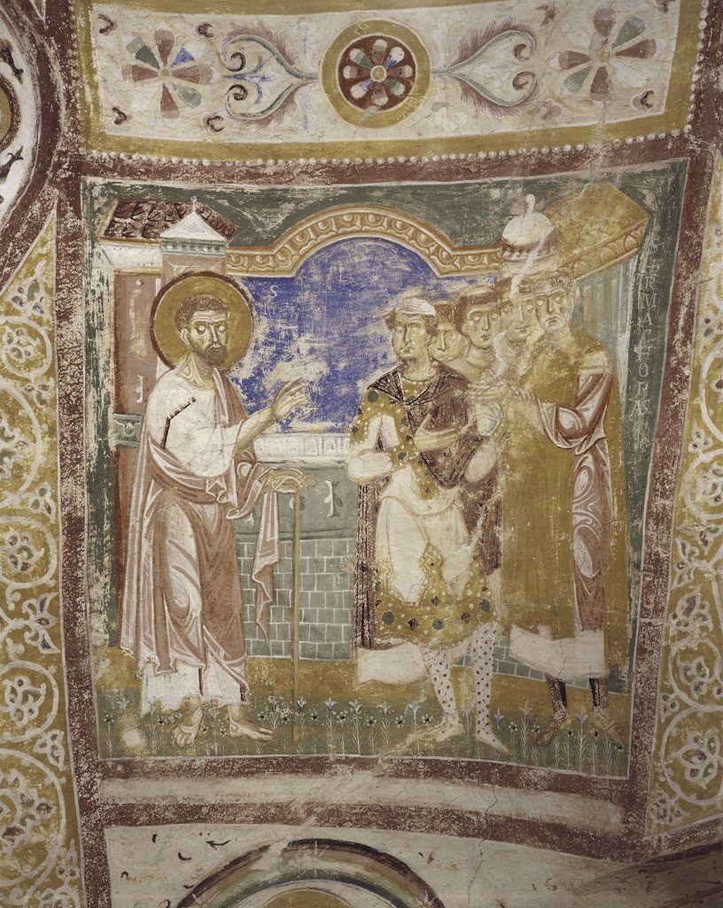 Stock Photo: 1788-1405 Italy - Friuli Venezia Giulia Region - Aquileia - Crypt - Basilica - Life of Saints Hermagoras, Mark in Aquileia