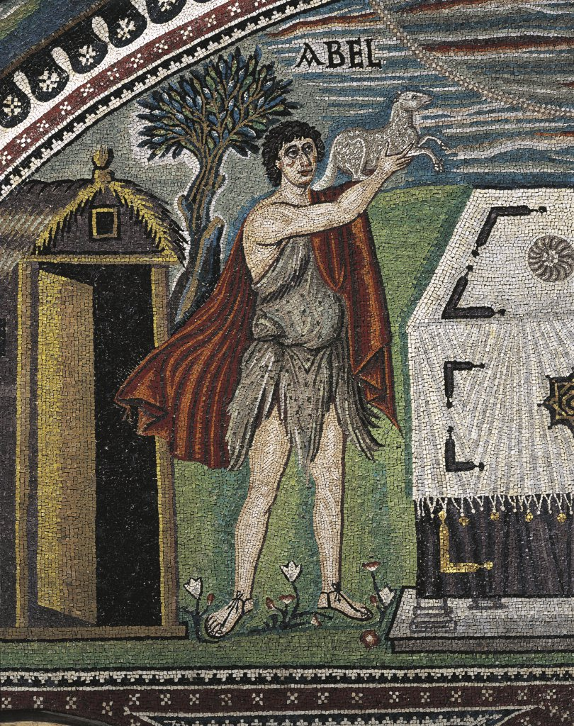 Italy - Emilia Romagna Region - Ravenna - Basilica of St. Vitalis - Presbytery - Right Lunette - Abel Sacrificed - Detail of Mosaic - Second Quarter of 6th century : Stock Photo