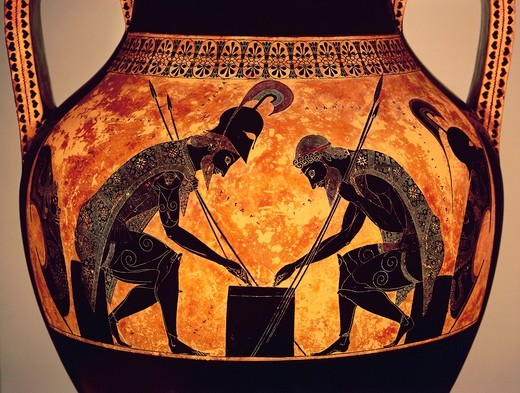Black-figure pottery, Attic amphora by Exekias, detail, Achilles and Ajax play dice : Stock Photo