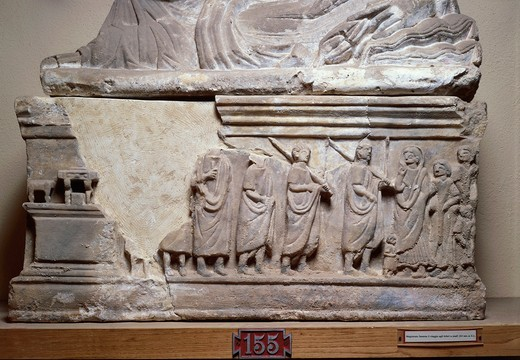Sarcophagus depicting court scenes, in the centre, magistrate holding scroll : Stock Photo
