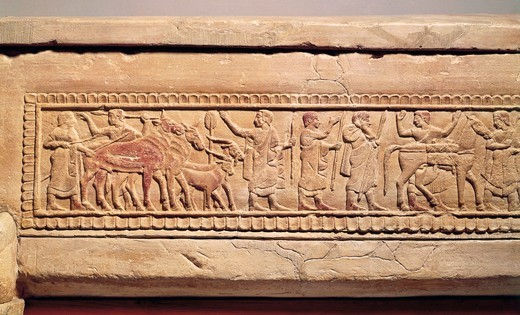 Sperandio sarcophagus with travel scenes, male characters and small herd of goats and cattle from Necropolis of Sperandio in Perugia, Italy : Stock Photo